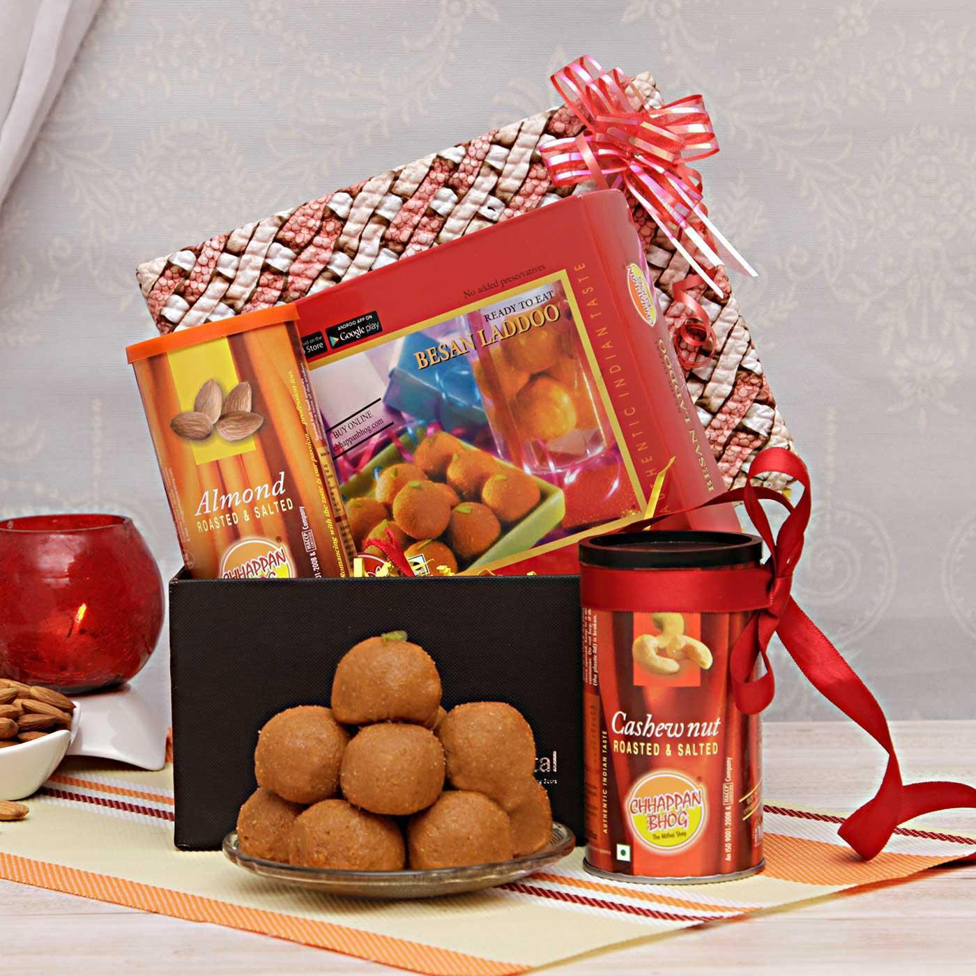 Besan Laddoos with Cashews and Almonds in a Gift Box