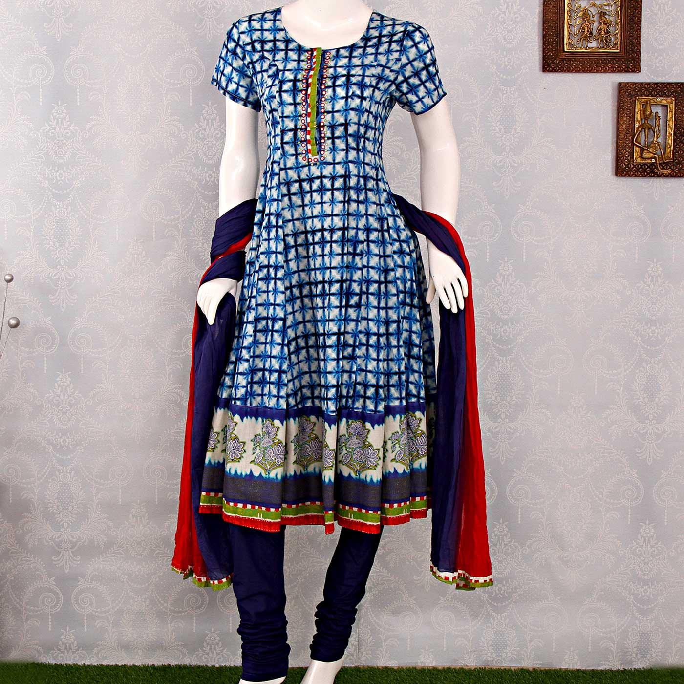 Biba Batik Print Blue Anarkali Suit With Dupatta