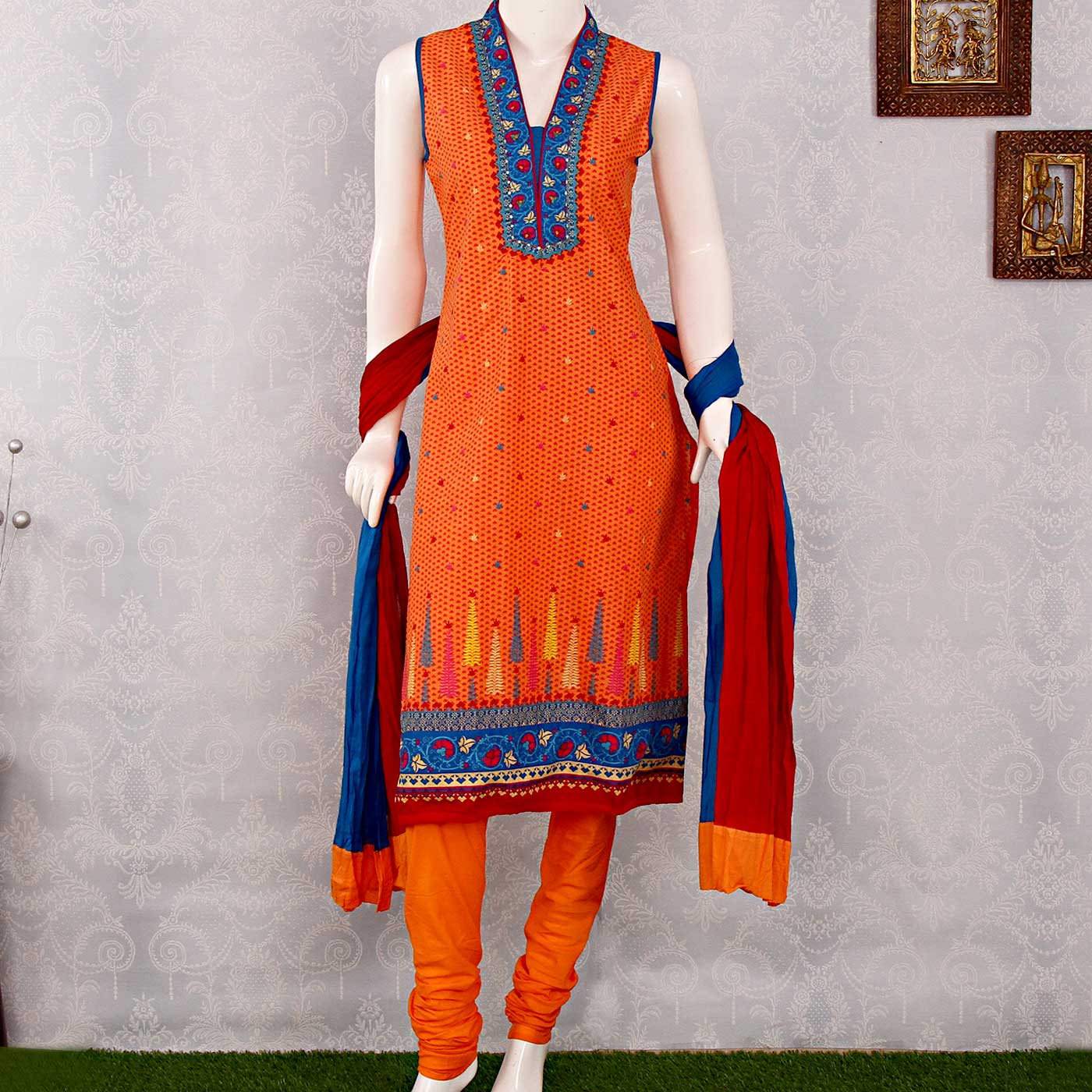 Biba Printed Cotton Sleeveless Orange Kurta Churidar With Dupatta