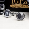 Black and Grey Checkered Tie With Cufflinks and Pocket Square