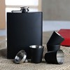 Black Drinking Flask & 4 Shot Glasses With Funnel