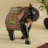 Black Elephant Wooden Figurine