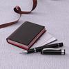 Black Faux Leather Business Card Holder & Pen Set