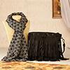 Black Tassels Sling Bag with Printed Silk Scarf