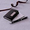 Black Visiting Card Holder & Pen Set