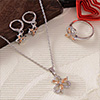 Bloomy CZ Stone Studded Pendant Set with Ring