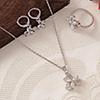 Bloomy CZ Stone Studded Pendant Set with Ring - White