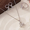 Bloomy CZ Stone Studded Pendant Set with Ring - White