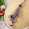 Blue and Orange Bead Work Lumba Rakhi