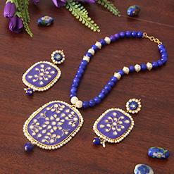 Blue Kadi Kundan & Pearl Pendant Set