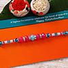 Blue Pink Bead Work Rakhi