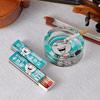 Blue Printed Glass Ashtray & Matchbox Set