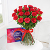 Bouquet of 18 Red Roses with Cadbury Celebrations Box