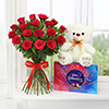 Bouquet of 18 Red Roses with Teddy & Cadbury Celebrations Box