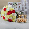 Bouquet of 30 Mixed Carnations with Ferrero Rocher & Cookies