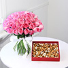 Bouquet of 50 Pink Roses with 400 gms Assorted Dryfruits