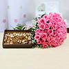 Bouquet of 50 Pink Roses with 500 gms Assorted Dryfruits