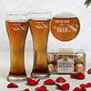 Box of Ferrero Rocher with a Set of 2 Imperial Beer Glasses