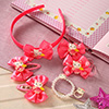 Bright Pink Floral Design Kids Hair Accessories