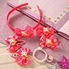 Bright Pink Floral Design Kids Hair Accessories