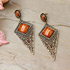 Brown-Gold Oxidised Earrings