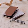 Brown Pen & Business Card Holder Hamper