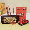 Brown Pencil Box with a Red Car and Stationery Set Hamper