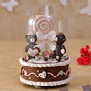 Brown Rotating Musical Glass Showpiece