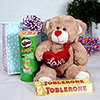Brown Teddy Bear with set of 2 Tolblerone and Pringles