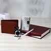 Brown Wallet & Table Clock with Card Holder & Pen Hamper