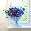 Bunch Of 10 Blue Orchids Wrapped In Tissue Paper