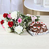 Bunch of 10 Mix Flowers with 1 Kg Black Forest Cake