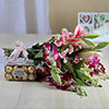 Bunch of 10 Mixed Flowers & 16 Pcs Ferrero Rocher Box