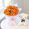 Bunch of 10 Orange Gerberas with 6 Inches Teddy