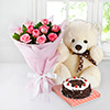 Bunch of 10 Pink Roses & Half Kg Black Forest Cake with 12 Inches Teddy