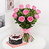 Bunch of 10 Pink Roses & Half Kg Round Black Forest Cake