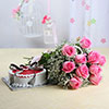 Bunch of 10 Pink Roses with Half Kg Strawberry Cake