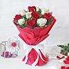Bunch of 10 Red and White Roses