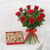 Bunch of 10 Red Roses with 400gms Assorted Dry Fruits Box