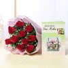 Bunch of 10 Red Roses with Greeting Card For Mom
