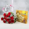 Bunch of 10 Red Roses with Soan Papdi Box (Wgt 500 Gms)