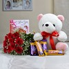 Bunch of 10 Red Roses with Teddy & Assorted Chocolates