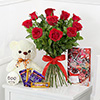 Bunch of 10 Red Roses with Teddy Bear & Assorted Chocolates