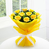 Bunch Of 10 Yellow Roses Wrapped in Tissue Paper