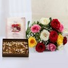 Bunch of 12 Mix Roses with Assorted Dry Fruits & Greeting Card