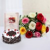 Bunch of 12 Mix Roses with Black Forest Cake & Greeting Card