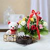Bunch of 12 Mixed Roses with 1 Kg Chocolate Cake & Ferrero Rocher with 6 Inch Teddy