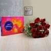 Bunch of 12 Red Roses with Cadbury Celebrations Box