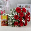 Bunch of 12 Red Roses with Gulab Jamun (Wgt 500 Gms)