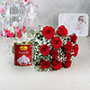 Bunch of 12 Red Roses with Rassogulla 1 Kg